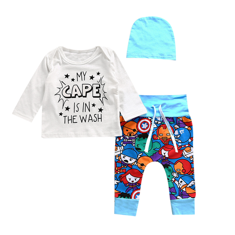2017 Fashion Cartoon Print Cute Baby Boy Clothes 3PCS/Set Newborn Babies Girls Cotton Clothes Set Long Sleeve T Shirt+Pant + Hat