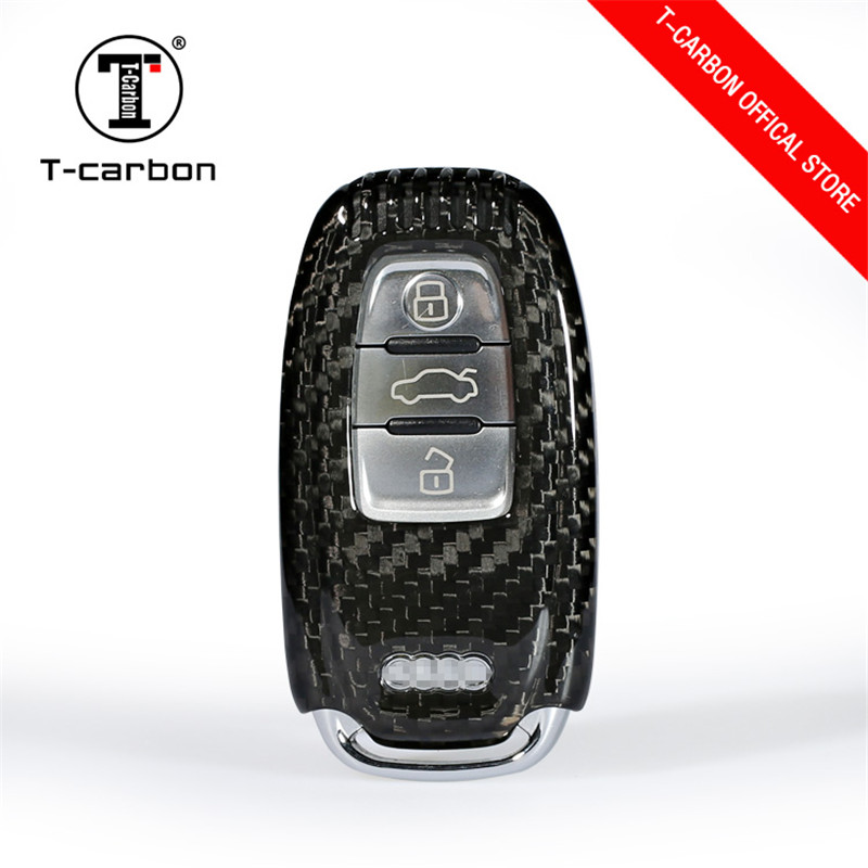 Carbon Fiber Car Key Protection Cover for Audi A4 A4L A5 A6 A6L Q5 S5 S7 Protect Shell Car Styling For Audi BUTTON START