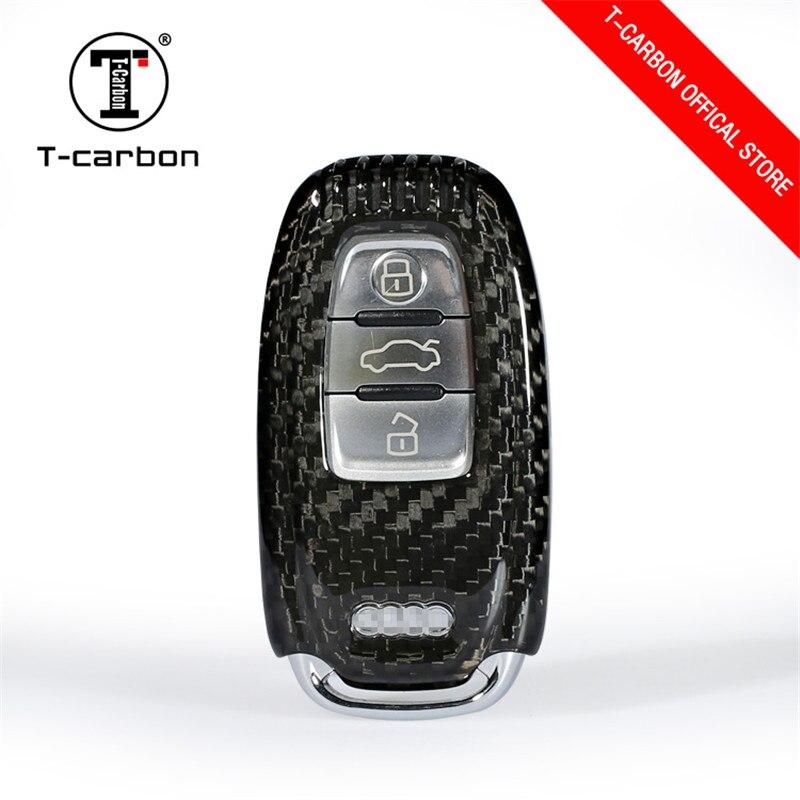 Tampa de Proteção da Chave Do Carro de Fibra De carbono para Audi A4 A4L A5 A6 Styling de Carro Para Audi A6L Q5 S5 S7 Proteja Shell BOTÃO de ARRANQUE