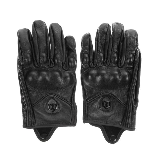 Stylish Leather Motorcycle Gloves Protective Armor Short Gloves M/L/XL Full Finger Without hole For Riding Sports