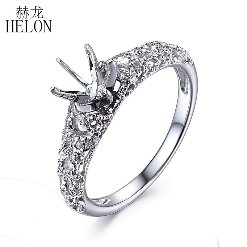 HELON Solid 10K White Gold Round Cut 6mm to 6.5mm Semi Mount Natural Diamonds Engagement Ring Wedding Fine Jewelry Ring Setting