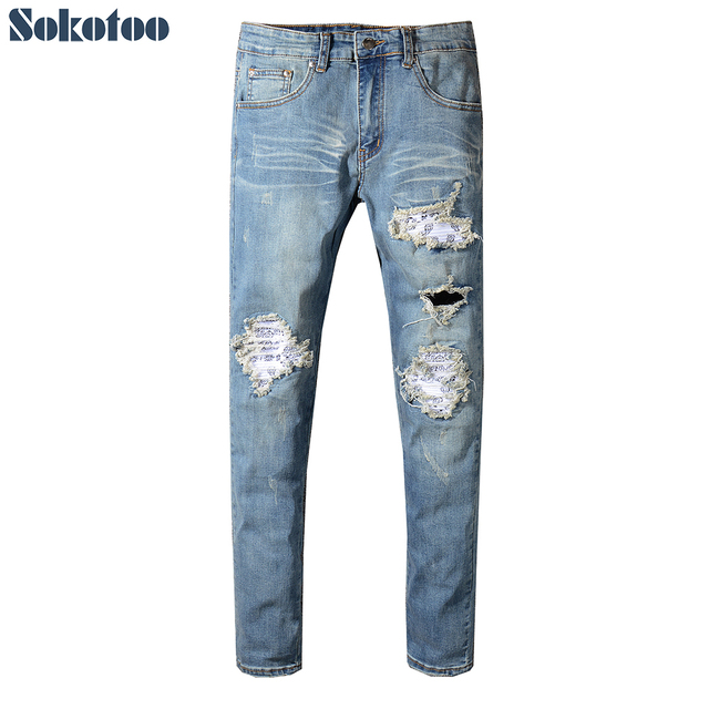 Sokotoo Men's pleated printed patch holes ripped biker jeans Blue denim slim fit skinny pencil pants