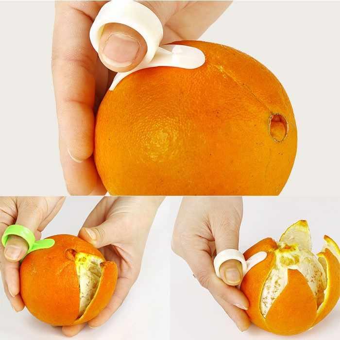 1 pc ผลไม้เครื่องมือครัวสร้างสรรค์พลาสติกสีส้ม Peeling เครื่องมือแหวนเปิด Orange Peeler Finger ประเภทอย่างชาญฉลาด