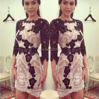 Hot Sale Sexy High Neck Three Quarter Sleeve Purple And White Lace Short Party Celebrity Dresses Cocktail Dresses