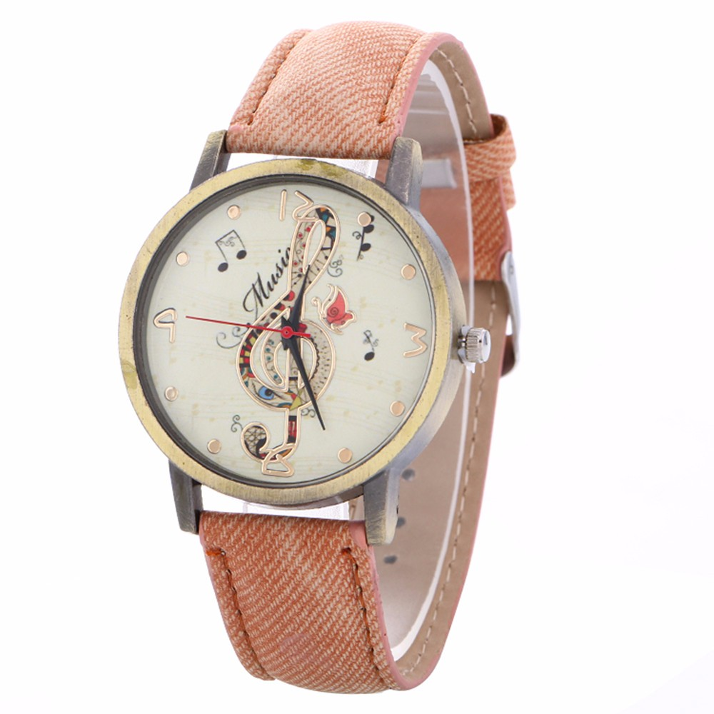 Fashion Vintage Women Watch Leather Belt Luxury Musical Note Printing Watches Ladies Dress Quartz WristWatches Clock Kol Saat #B