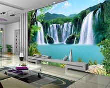 Купить с кэшбэком Custom 3d landscape wallpaper for walls 3 d photo natural Waterfall landscape wall TV backdrop 3d mural wallpaper beibehang