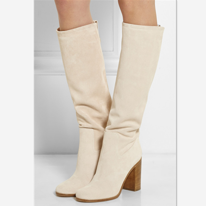 New Brand Women Leather High-heeled Boots Round-toe Shoes Female Winter Snow Warm Knee High Boots Large Size Botte Femme Hiver