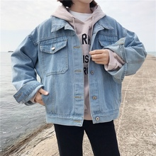Thin Female Jacket Casual Korean Womens Denim Minimalism Autumn Women 2019 Vintage Big Pocket Jean Coat