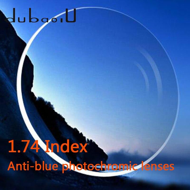 1.74 lentilles photochromiques anti-rayons bleus ordinateur asphérique professionnel lentilles d'hyperopie de myopie optique Anti-rayonnement