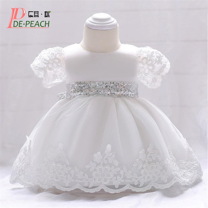 DE PEACH 2019 Embroidery Sequins Bow Baby Girl Wedding Dress Infant Birthday Party Baptism Dress Baby Kids Christening Clothes