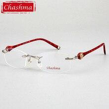 Chashma Merk Designer Ultra Licht Bril Randloze Brillen Vrouwelijke Recept Bril Kwaliteit Titanium Frames voor Vrouwen