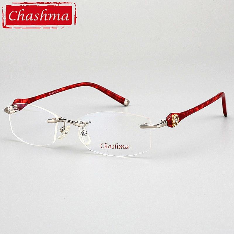 bb6568138c Chashma marca de diseñador gafas Ultra ligeras gafas sin montura gafas de  prescripción femenina marcos de titanio de calidad para mujer