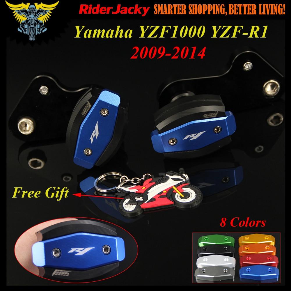 CNC Blue Motorcycle Frame Slider Anti Crash Protector For Yamaha YZF R1 YZF1000 YZF-R1 09-14 2009 2010 2011 2012 2013 2014