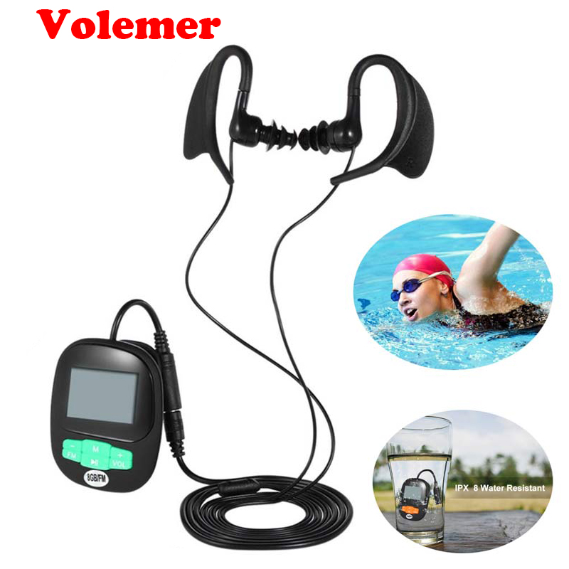 Volemer 4G 8GB IPX8 Diving Surf Swimming MP3 Stereo Sound Music Player Water resistant For Underwater Swim FM Radio MP3 earphone