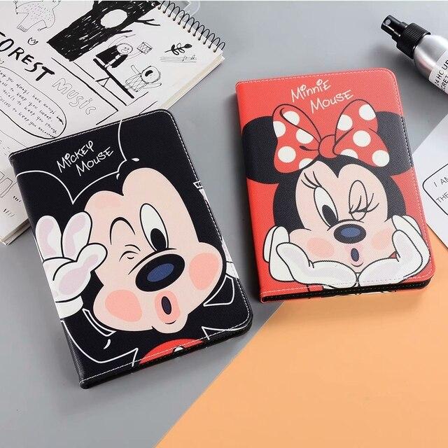 Para o Caso Do ipad Mini 4 3 2 1 Pooh Couro Bonito Mickey Minnie Silicone Suave Tampa Traseira para ipad Air /Air2 Pro ipad 2017/2018 Caso