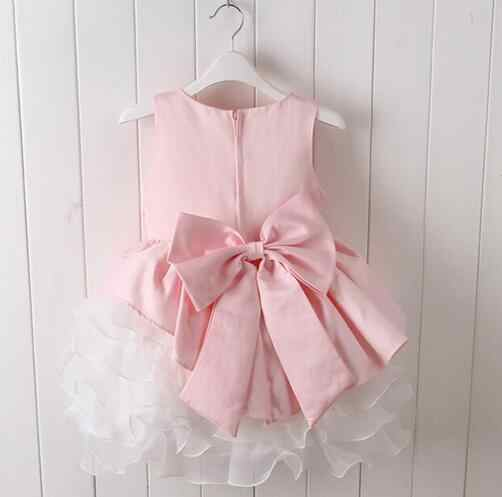 Envío Gratis vestido de bebé Rosa 2017 Nuevo diseño vestido de niña para 1 año de cumpleaños niñas bebé vestido de graduación con flor rosa
