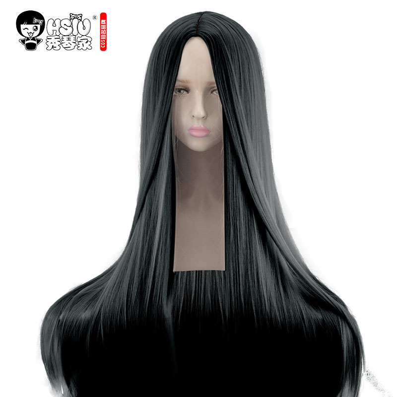 HSIU High Quality 100cm Lang Rett Paryk Central Parting Cosplay Paryk Sort Kostume Spil Parykker Halloween Party Anime Game Hair