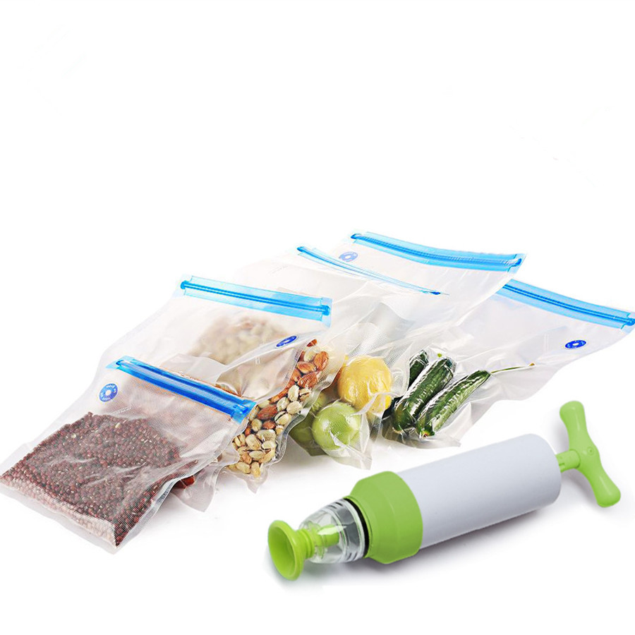 Vacuum Sealer Vacuum bags For Food Storage With Pump Reusable Food Packages Kitchen Organizer(Containing 5pcs bags) Vacuum pump(China)