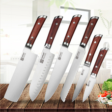 KEEMAKE 6PCS Kitchen Knives Set German 1.4116 Steel Chef knife Color Wood Handle Sharp Cooking Santoku Bread Utility Knife Gift