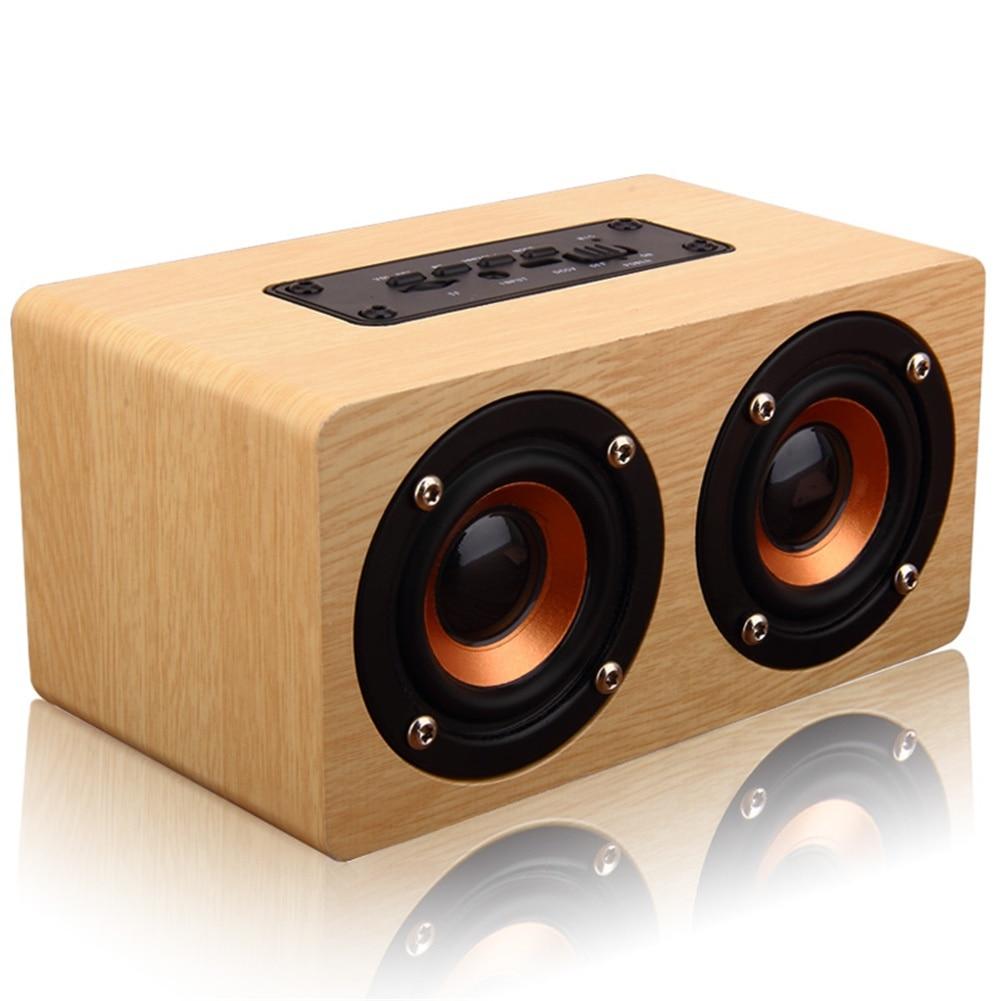 10W Retro Wood Wireless Bluetooth Speaker Portable Mini USB Charging HiFi Speaker ufo shape portable mini rechargeable bluetooth v2 1 speaker black orange