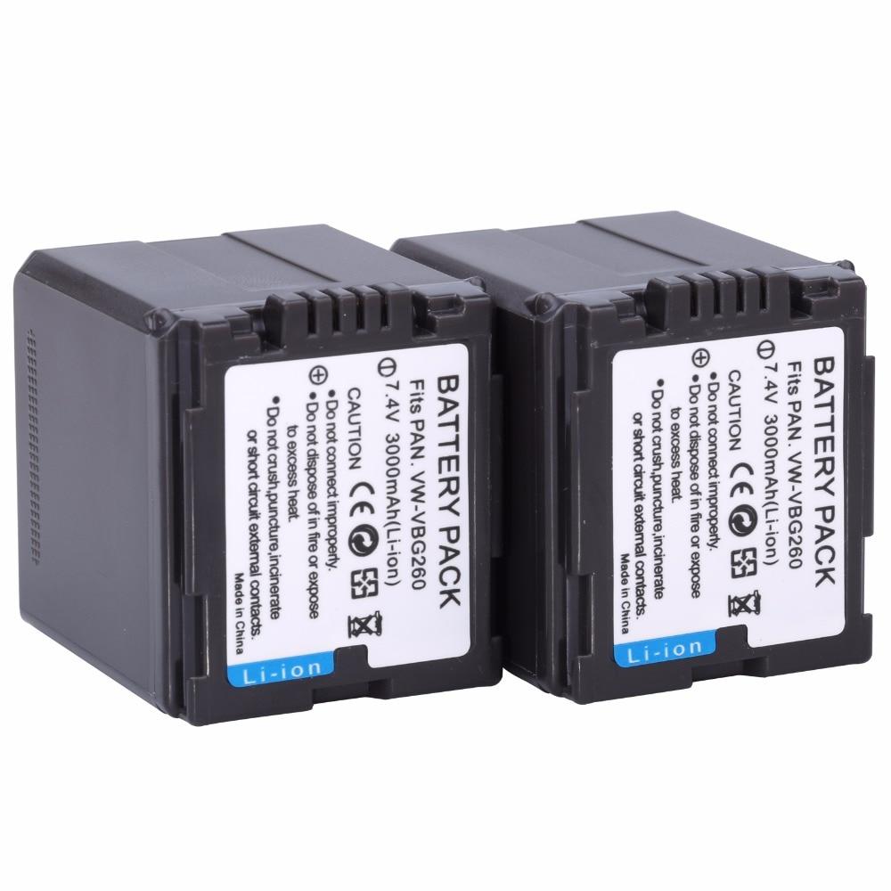 2Pcs VW VBG260 VW VBG260 VBG130 VBG260 Battery for PANASONIC HDC HS700 TM700 HS300 TM300 HS250