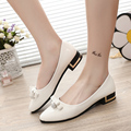 Korean Rhinestones pointed toe bow tie women shoes female fashion white flat shoes zapatos de mujer leisure office flats shoes