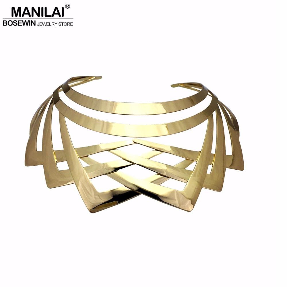 MANILAI Trendy Arc Hollow Metal Big Torque Choker N