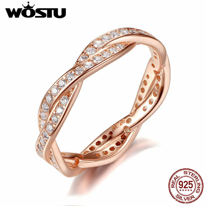 WOSTU 100% Real 925 Sterling Silver & Gold Color Twist Of Fate Rings With Clear CZ Luxury Original Ring Jewelry Gift XCH7187