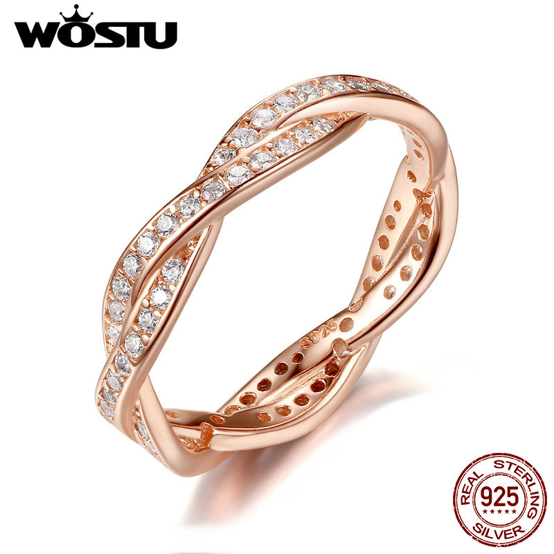 WOSTU 100% Real 925 Sterling Silver & Gold Color Twist Of Fate Rings With Clear CZ Luxury Original Ring Jewelry Gift XCH7187 цена и фото
