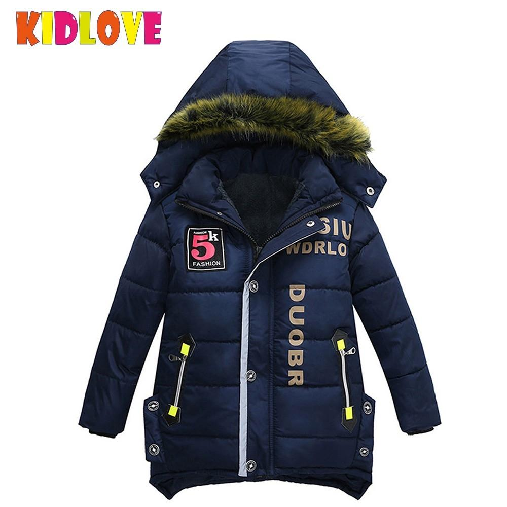KIDLOVE Children Boy Winter Jackets Warm Thickening Cotton-padded Coat Zipper Closure Hooded Outerwear Kids Jacket Clothing ZK30 free shipping winter children s clothing baby cotton padded jacket outerwear fleece coat children clothing