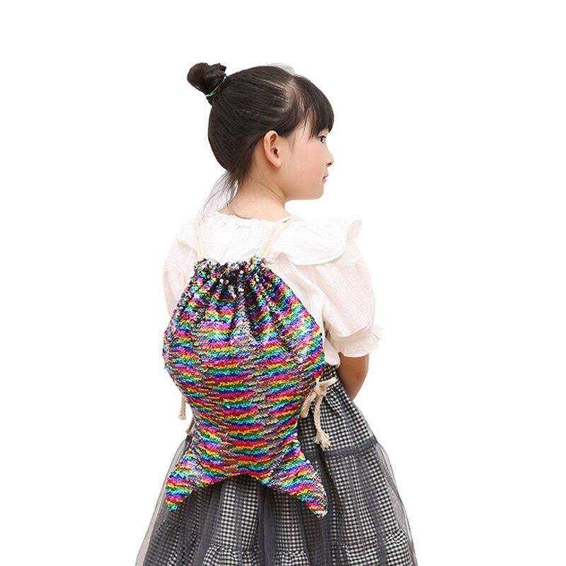 BUCHNIK Fashion Mermaid Sequin Backpacks Shoulder Reversible Women Girls Bling Shining Bag Glittering Drawstring Travel Pouch