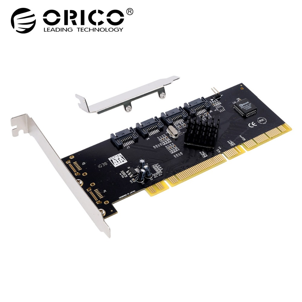 купить ORICO 4 Port SATA2.0 PCI-E Express Expansion Card Adapter 3Gbps PCI-X PCI Express Support RAID 0 1 5 For Windows Linux Mac OS недорого