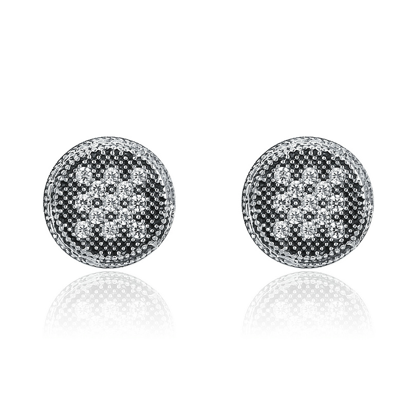 SHIQIER S925 925 Sterling Silver Unique Mosaic Round Dazzling Clear Zircon Female Stud Earrings for Lady Fine Jewelery Gift