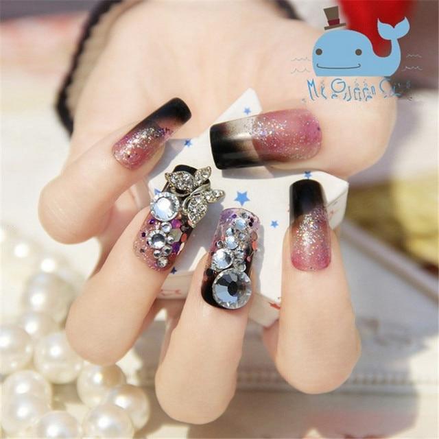24pcs Set New Fashion False Nails Cute Flash Diamond Full Cover Nail Transpa Fake