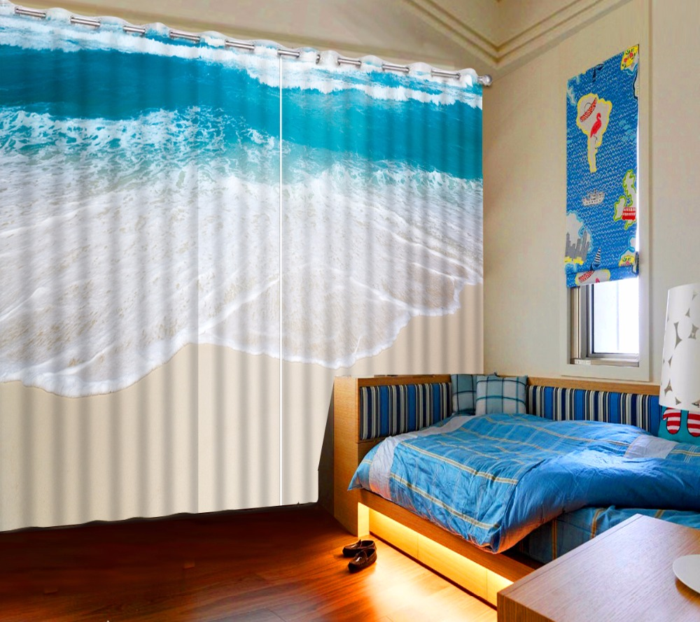 Luxury Beautiful Blackout Fabric Beach Sea 3D Curtains For