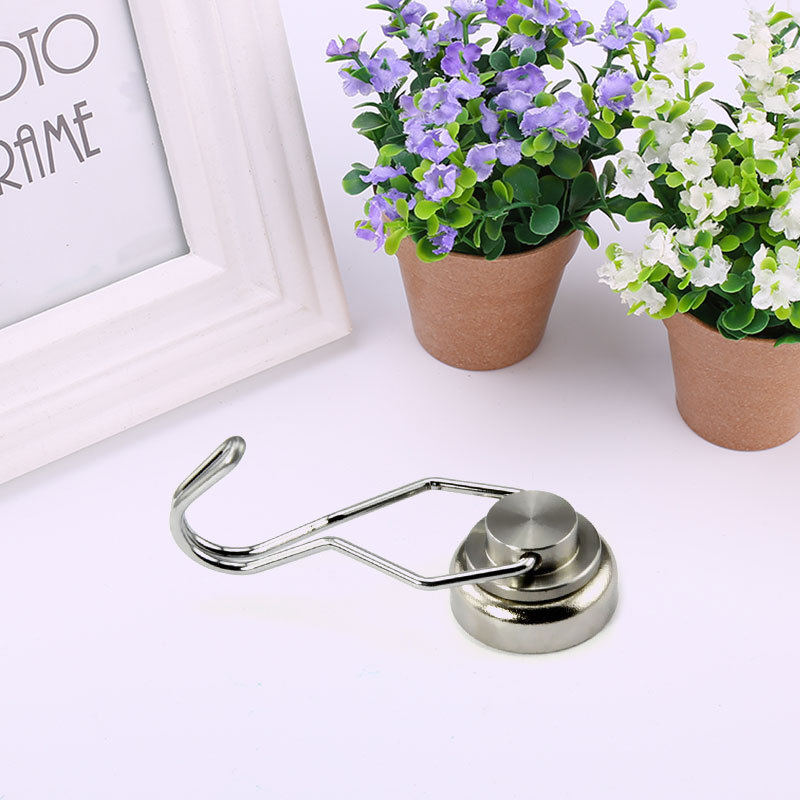 1Pc Silver Magnetic Hanger Hook Rotary Magnetic Hook Strong Neodymium Magnet Flexible Permanent Magnet Hanger High Quality