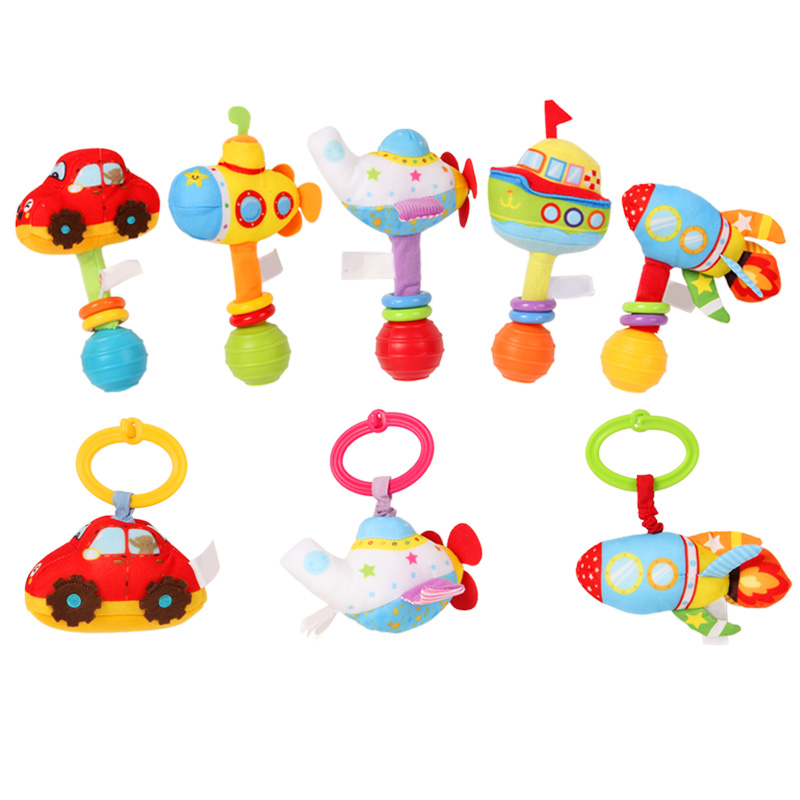 Baby Plush Rattles Educational Toys 0-12 Months Ring Hand Bells Vibrating Car Vehicle Newborn Cute Infant Toys For Children Gift