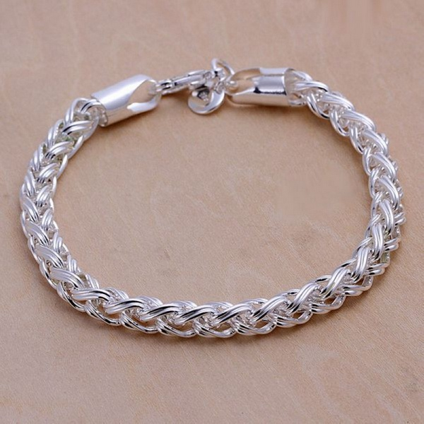 Creative twist circle chain women men silver plated bracelets new high quality fashion font b jewelry