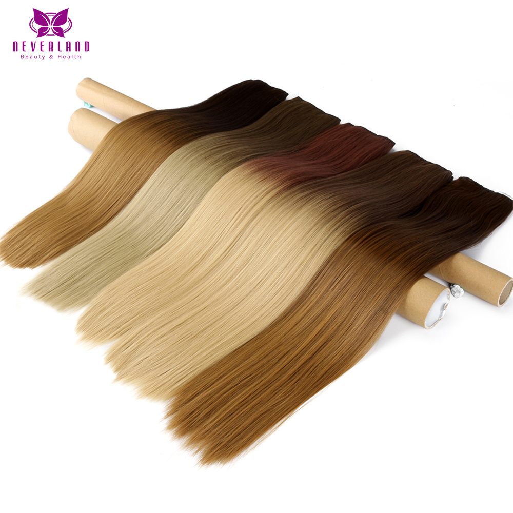 Neverland 24 60cm 5 Clips Straight Ombre Synthetic False Hairpiece Clip in One Piece Hair Extensions