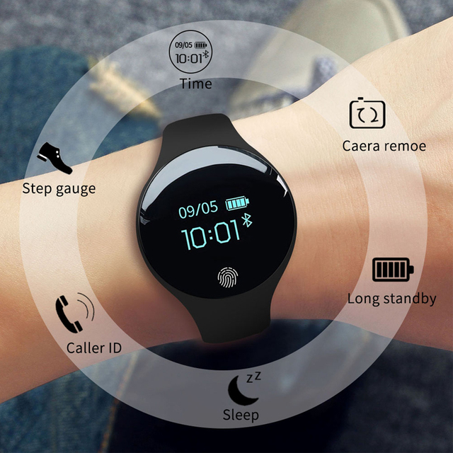 Android IOS Lady Rubber Sports Smartwatch with Calorie Pedometer en more