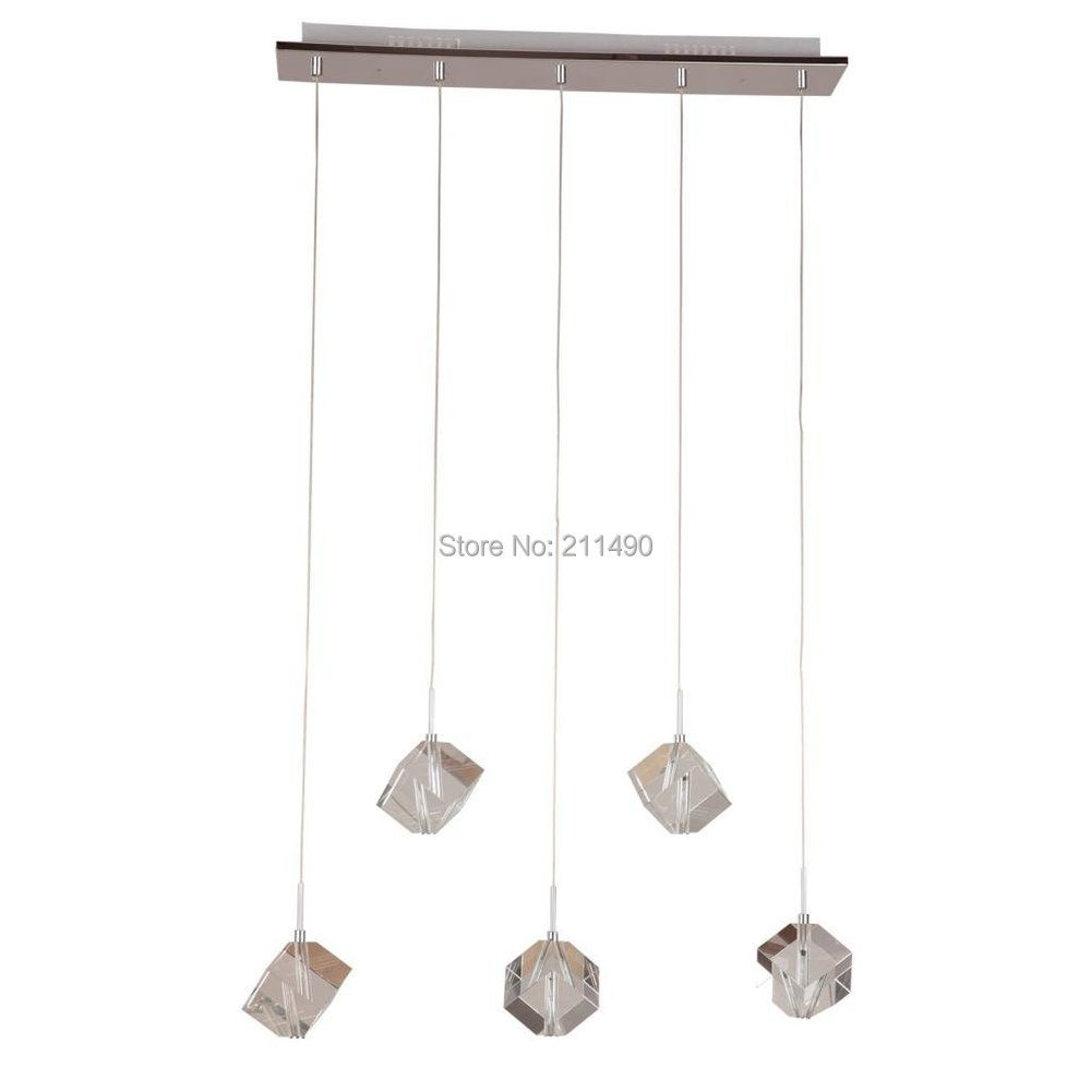 Silver Modern Crystal Pendant Light Chrome Finish with 5 Lights Max 100W