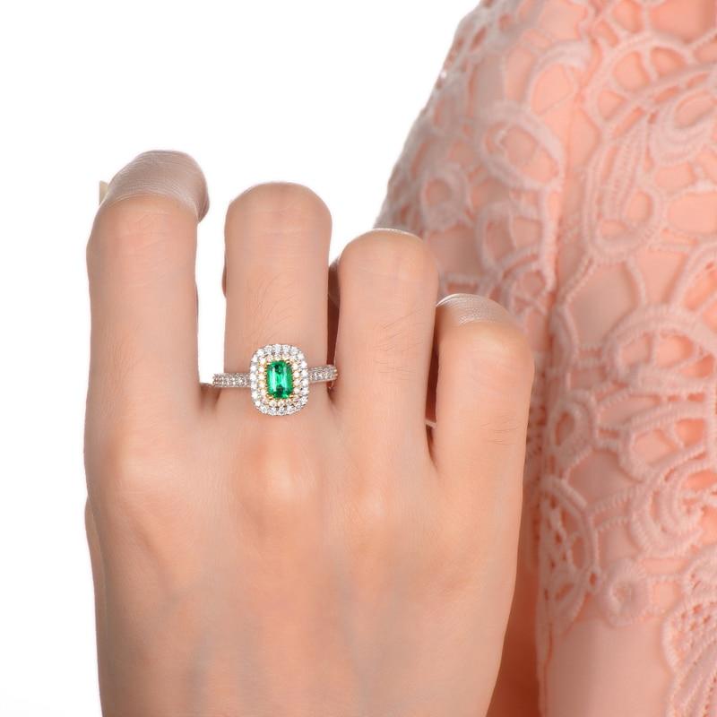Antik 14ct Multi-Tone Emas 1.08ctw Natural Emerald H SI Berlian - Perhiasan bagus - Foto 6