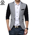 ew Slim Fit Casual jacket Cotton Men Blazer Jacket Single Button Gray Mens Suit Jacket 2016 Autumn Patchwork Coat Male Suite