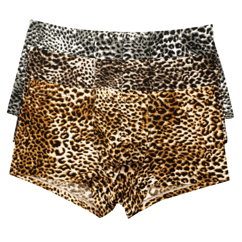 Shorts Men Boxers Underwear Panties Trunks Breathable 3PCS Leopard