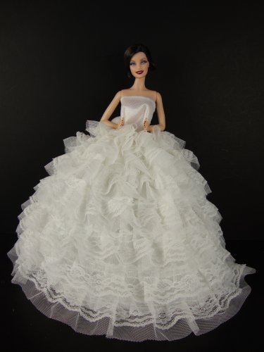 LeadingStar Beautiful White Gown with Tons of Ruffles Ball Gown for Barbie Doll zk15 dd001891 beautiful white
