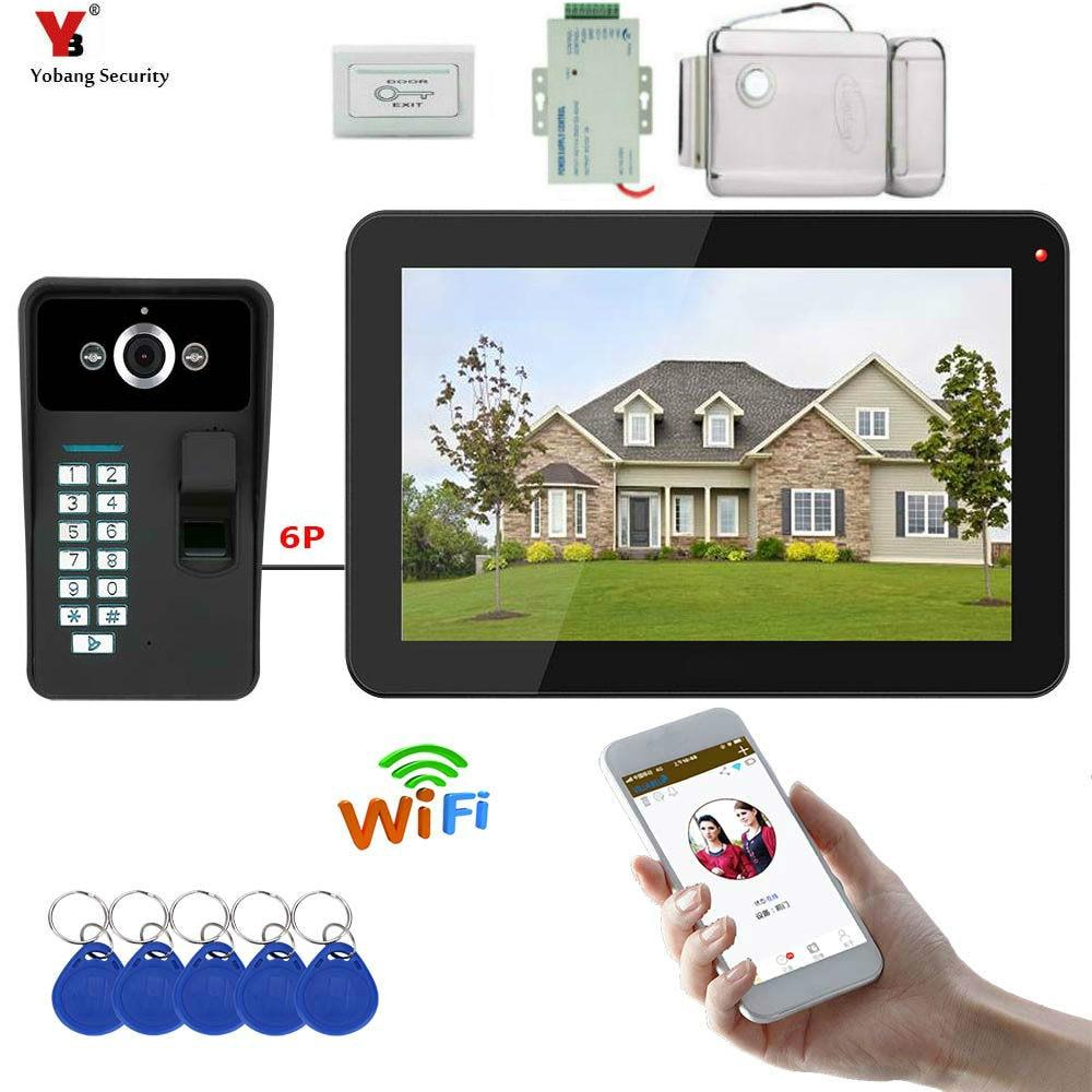 9インチ有線/ワイヤレスWifi指紋RFIDパスワードビデオドア電話ドアベルインターホンエントリシステム+ IDキーフォブ+電気ロックドアワイヤレスモニター付き