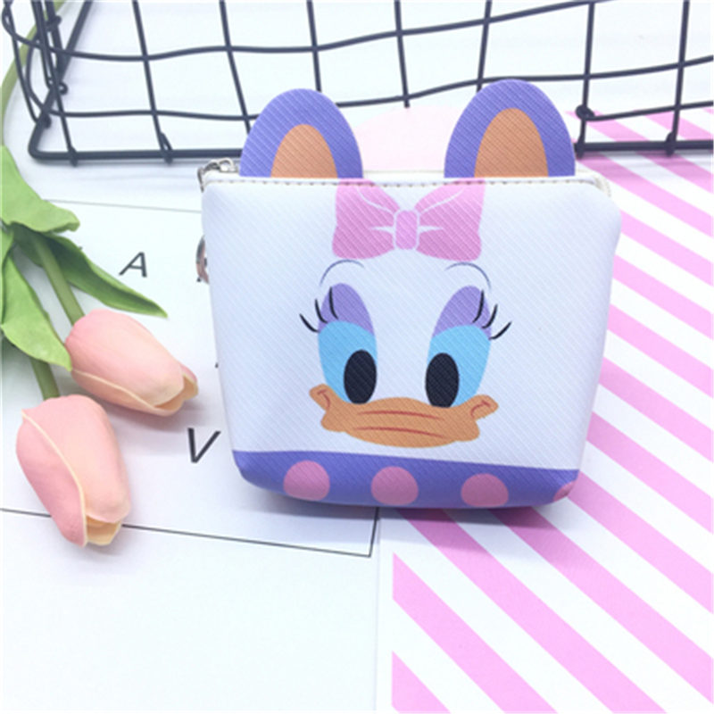 Disney Cartoon Stereo Ear Zip Coin Purse Coin Bag Card Pack Donald Duck Chichitti Girls Hand Bag Children Gifts