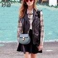 A2014 2016 Female Genuine leather smoth and grain leather handbag women's messenger bag small pig bags contrast color crossbody