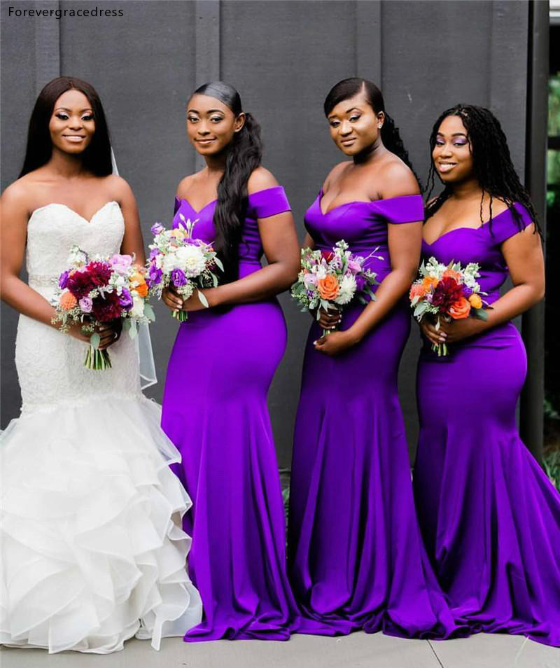 South African Purple Bridesmaid Dresses Summer Country Garden Wedding Party Guest Maid Of Honor Gowns Plus Size Custom Made