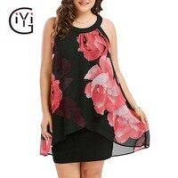 GIYI Plus Size 5XL Floral Print Sexy Chiffon Mini Tank Dress Women Sleeveless Overlay Sheath Summer